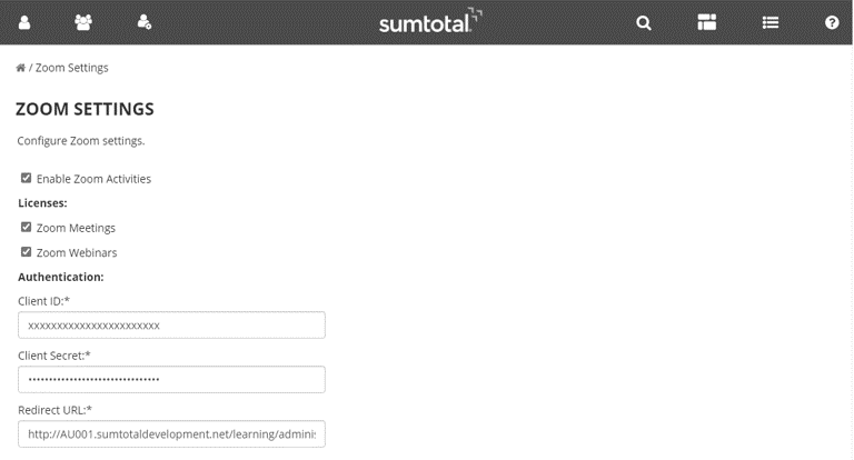 Configure Zoom Settings in SumTotal