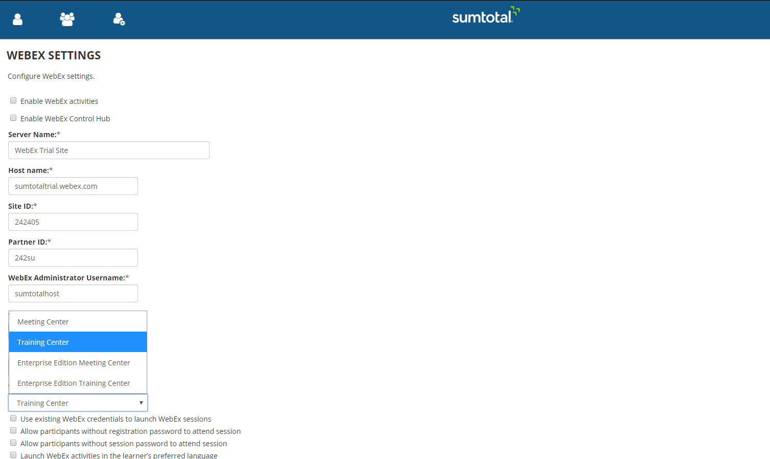 Configure Webex Settings in SumTotal