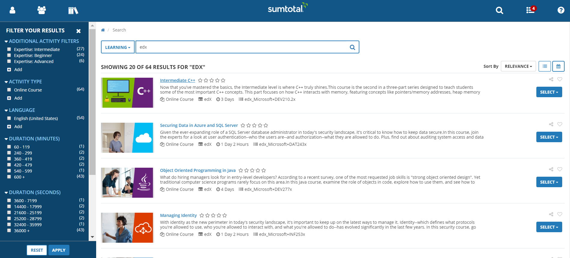 Search for EdX content in SumTotal with all supported metadata